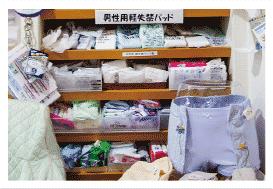 布製ホルダーパンツ、紙製軽失禁パッド展示